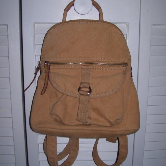 Fossil Bags   Tan Canvas Small Backpack Style Bag Purse   Poshmark 1868083d81